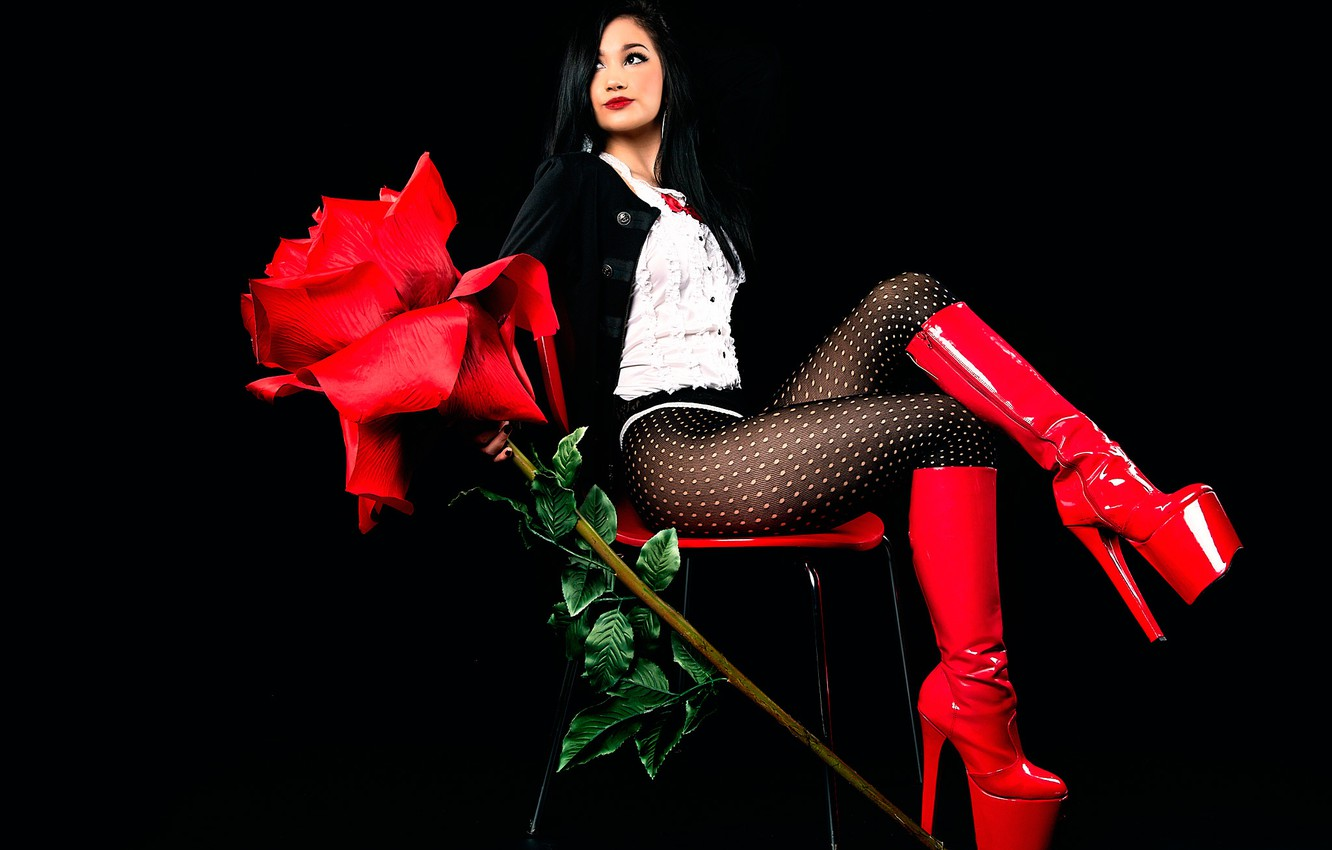 Photo wallpaper girl, legs, red rose, red boots, All About Red