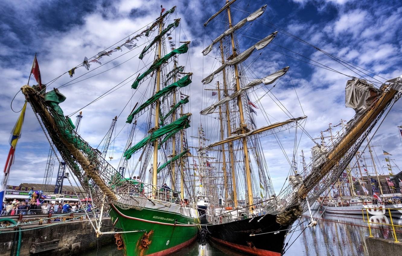 Photo wallpaper people, ships, sail, valna