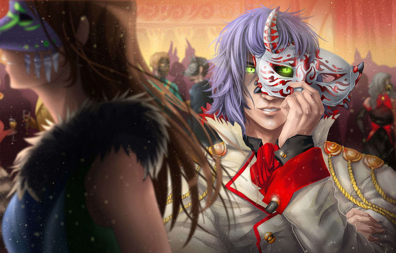 Photo wallpaper look, anime, mask, guy, carnival
