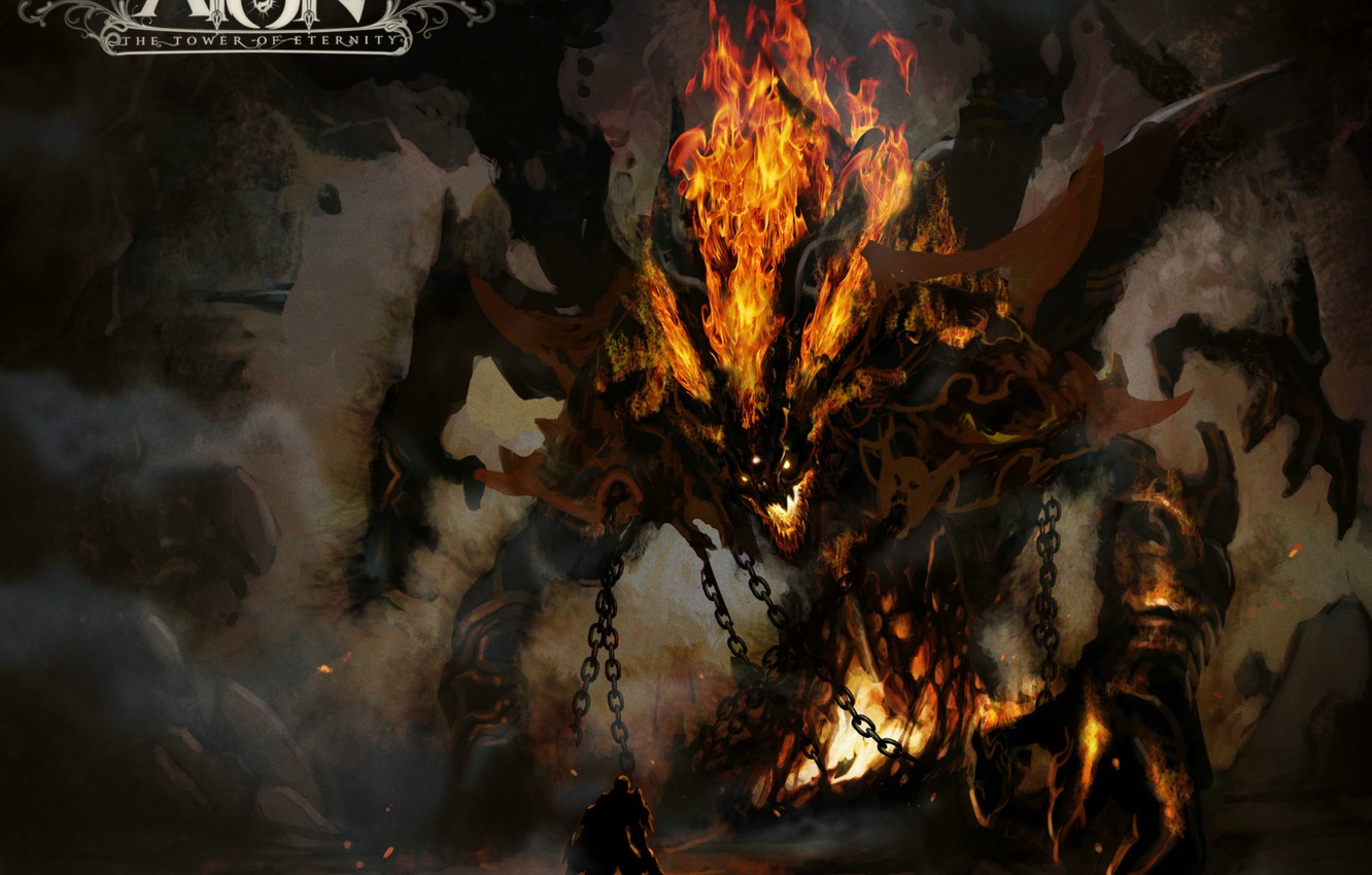 Photo wallpaper the devil, Aion, Satan, flame.horror, the tower of Eternity