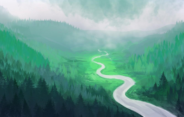 Photo wallpaper forest, river, hills, art, tree, painted landscape