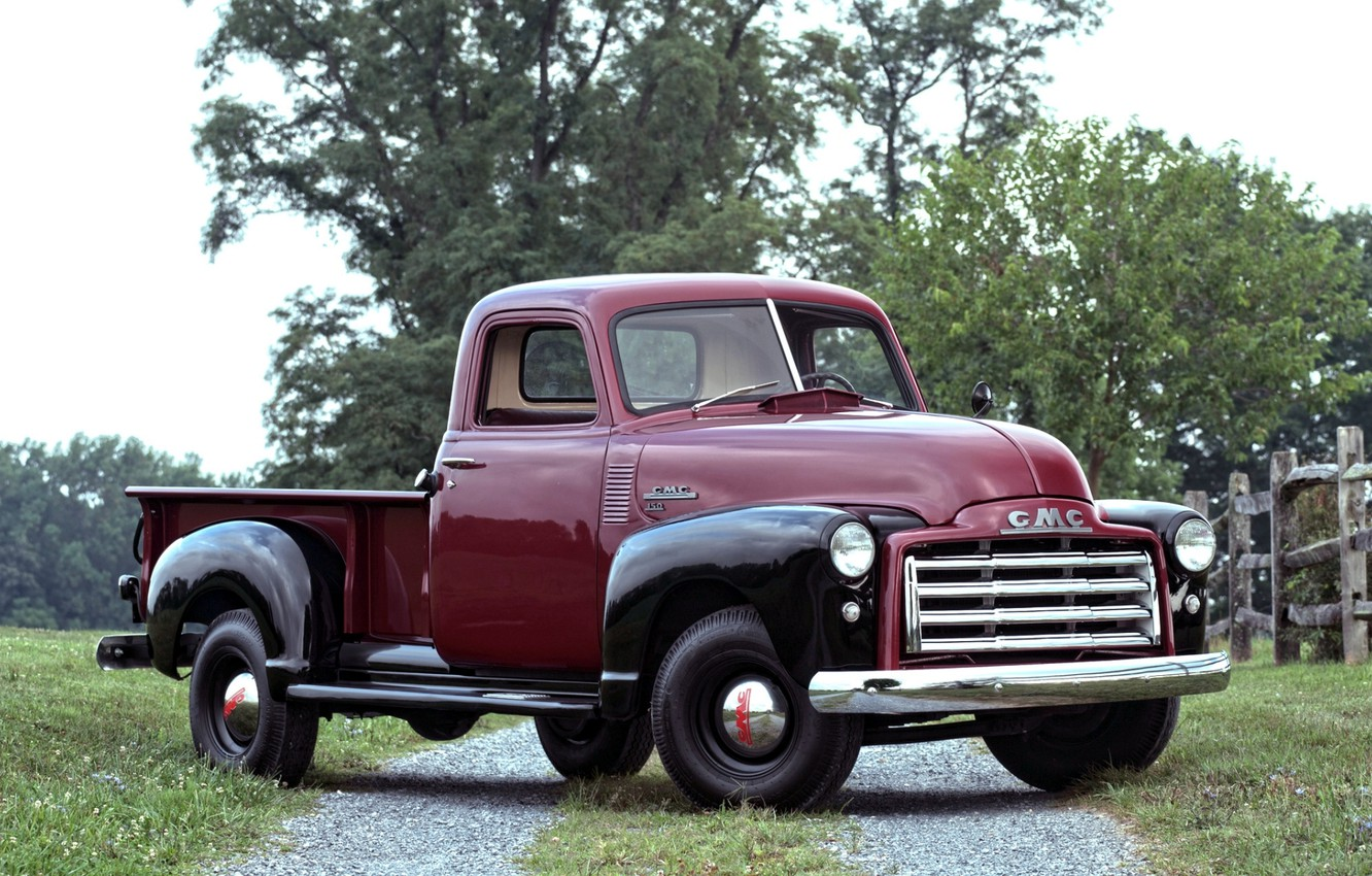 Photo wallpaper road, trees, 150, classic, pickup, the front, 1950, GMC, Pickup