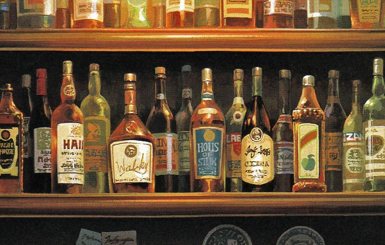 Photo wallpaper bar, glasses, bottle, a lot, shelves, alcohol, porco rosso, by hayao miyazaki