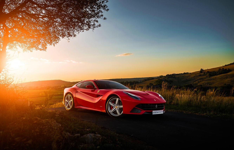 Photo wallpaper Ferrari, Red, Sky, Front, Sunset, Africa, South, Supercar, Berlinetta, F12, Ligth