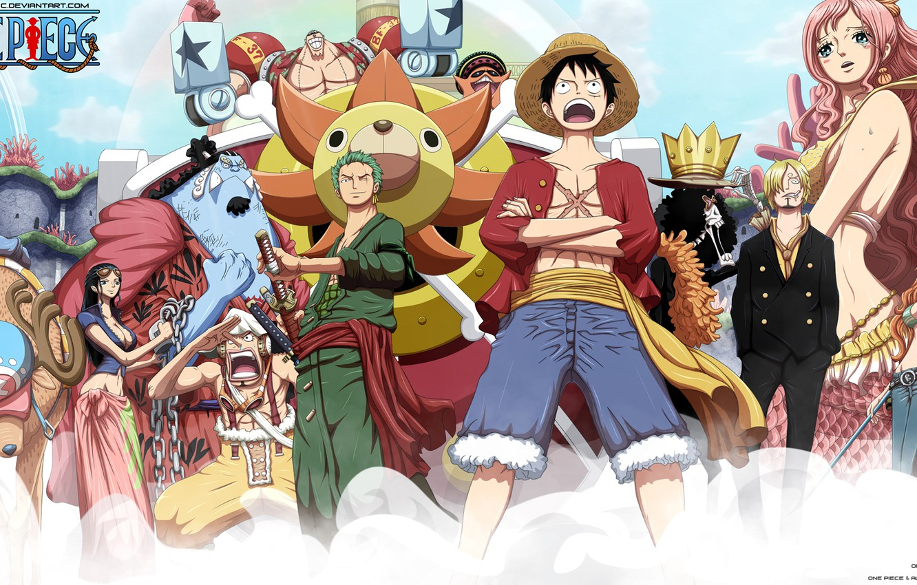Wallpaper Robin Nami Usopp Brook Zoro Sanji Luffy Choper One