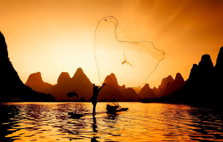 Photo wallpaper river, network, fisherman, fishing at sunset