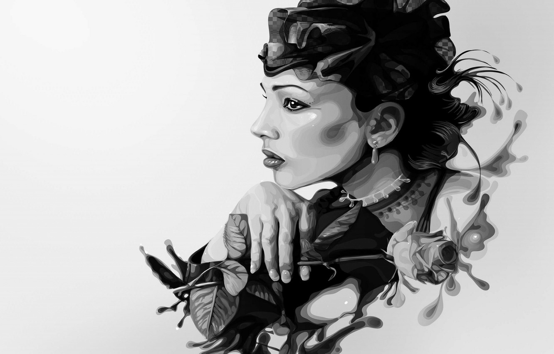 Photo wallpaper Girl, Figure, Thinks, Art, Black And White