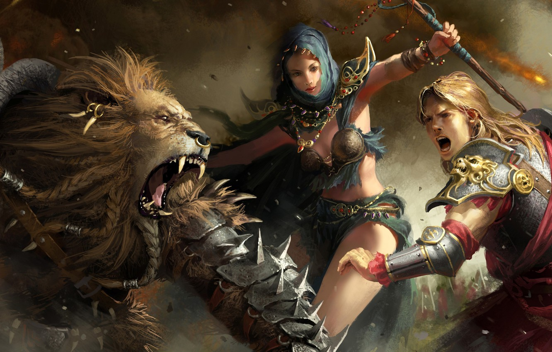 Photo wallpaper fantasy, Leo, Battle