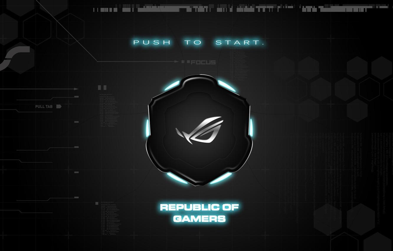 Photo wallpaper background, brand, asus, rog, republic of gamers, push to start