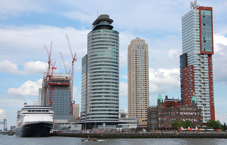 Photo wallpaper people, construction, home, boat, liner, promenade, skyscrapers, ship, boat, port, liner, rotterdam