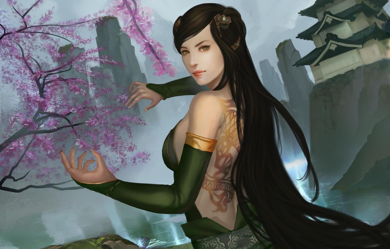 Photo wallpaper girl, mountains, rocks, hands, Sakura, art, tattoo, temple, back, dragon clan, legend of five rings
