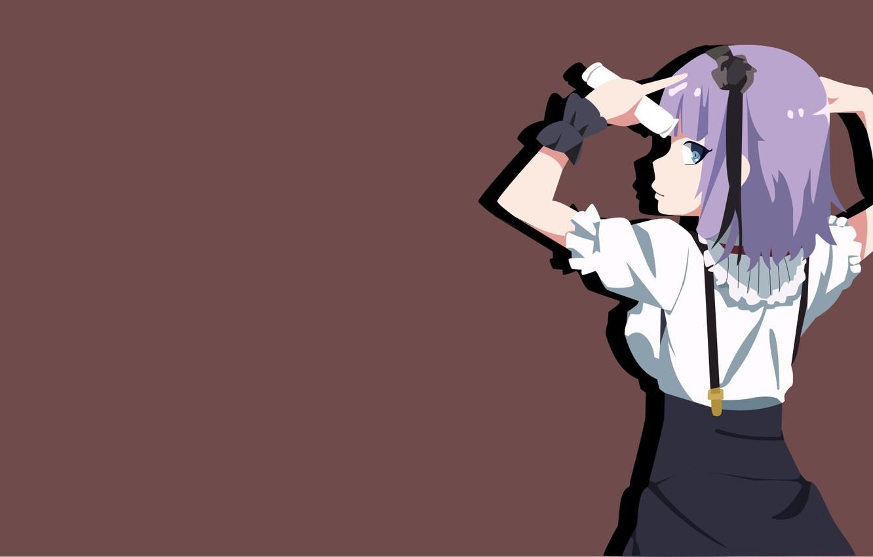 Photo wallpaper kawaii, girl, game, blouse, flower, anime, blue eyes, beautiful, asian, cute, back, manga, pretty girl, …