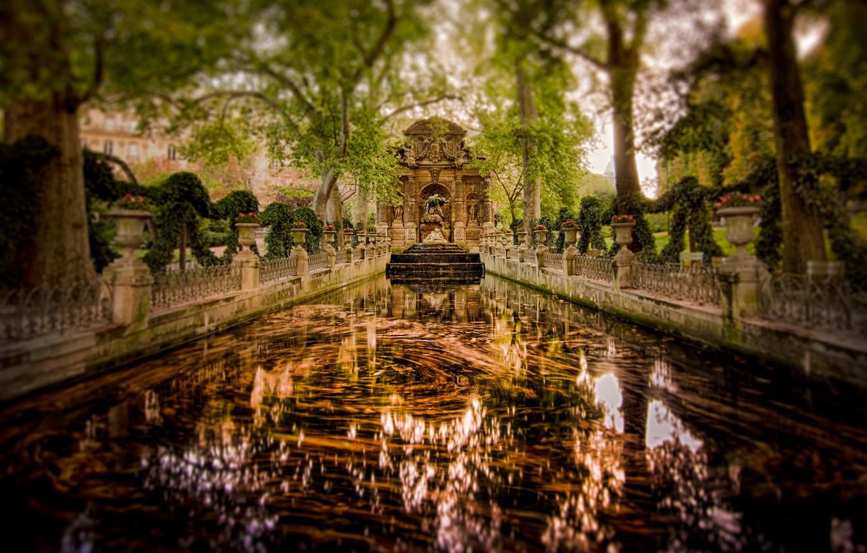 Photo wallpaper trees, reflection, France, Paris, garden, mirror, the Medici fountain