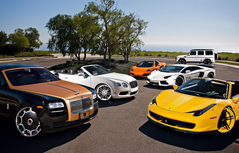 Photo wallpaper McLaren, Mercedes-Benz, Bentley, Continental, Lamborghini, Rolls-Royce, Ferrari, Ghost, Cars, 458, Vorsteiner, AMG, MP4-12C, Tuning, LP700-4, …