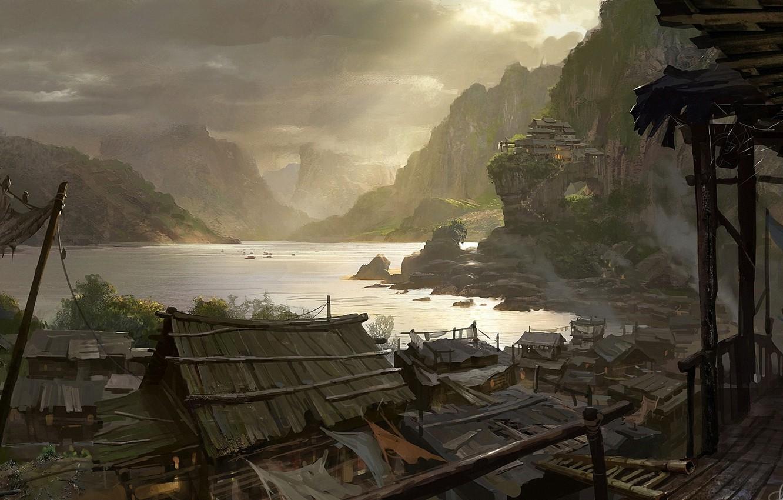Photo wallpaper mountains, bridge, river, home, village, art, painted landscape