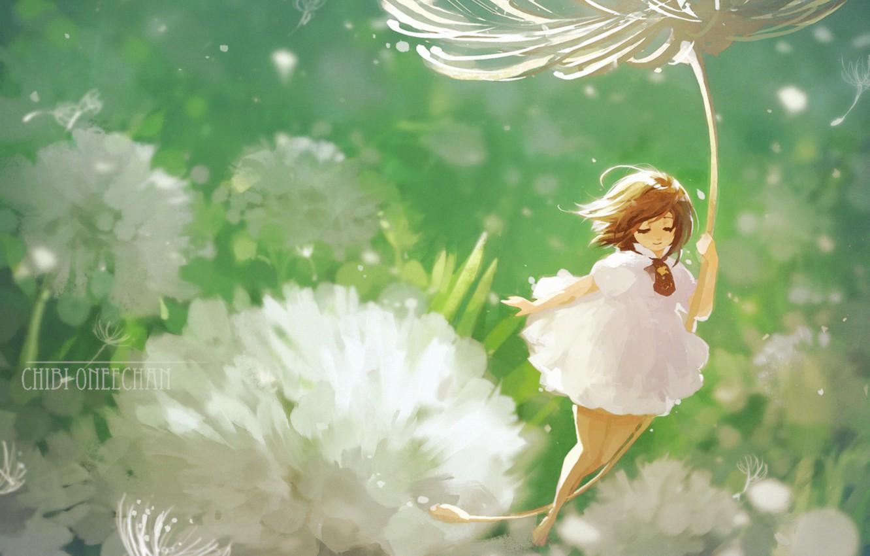 Photo wallpaper summer, elf, fairy, fluff, girl, dandelions, white dress, art, chibi oneechan