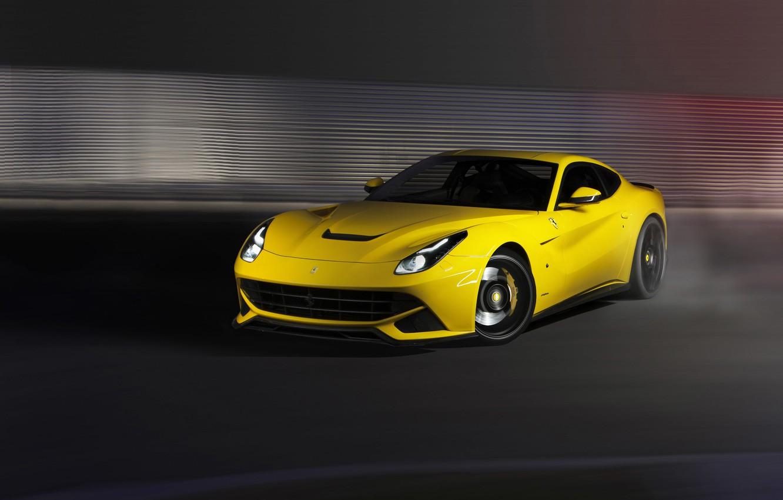 Photo wallpaper Ferrari, yellow, f12, berlinetta, novitec rosso