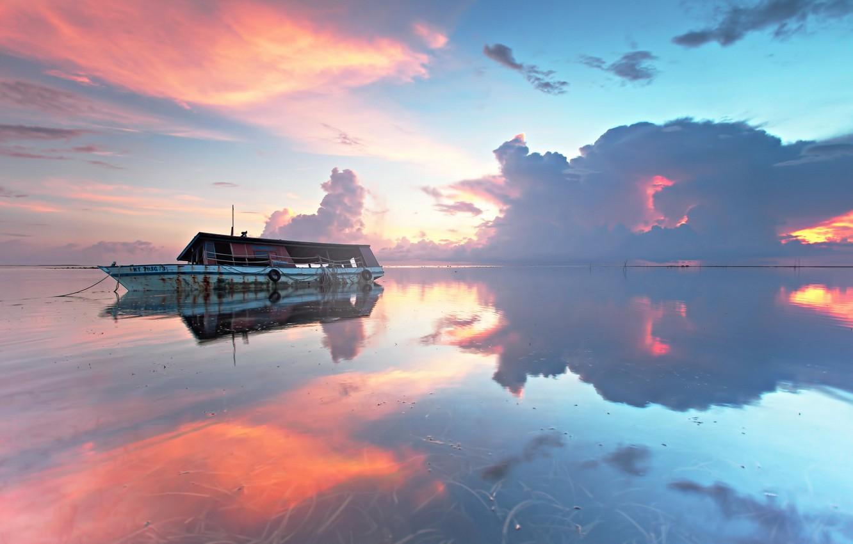 Photo wallpaper sea, landscape, sunset, ship