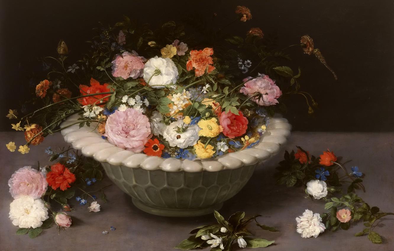 Photo wallpaper flowers, bouquet, still life, painting, Art, the Golden age
