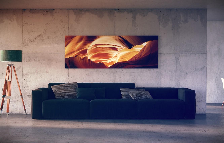 Photo wallpaper lamp, picture, pillow, sofa