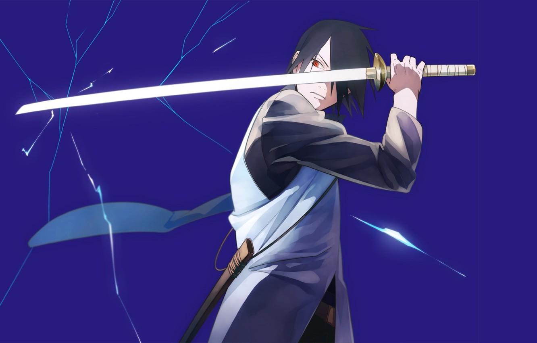 Photo wallpaper sword, anime, art, guy, Naruto, Naruto, Sasuke Uchiha