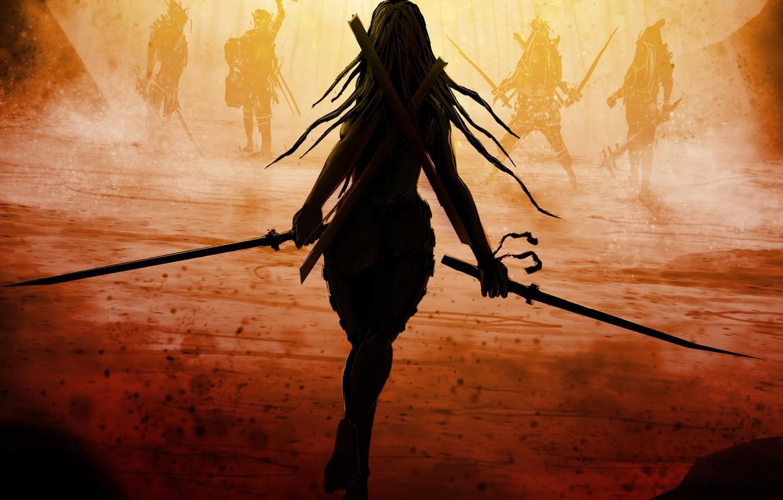 Photo wallpaper girl, weapons, fiction, back, swords, long hair, enemies