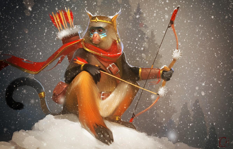 Photo wallpaper bow, art, arrows, monkey, Alexander Khitrov, GaudiBuendia
