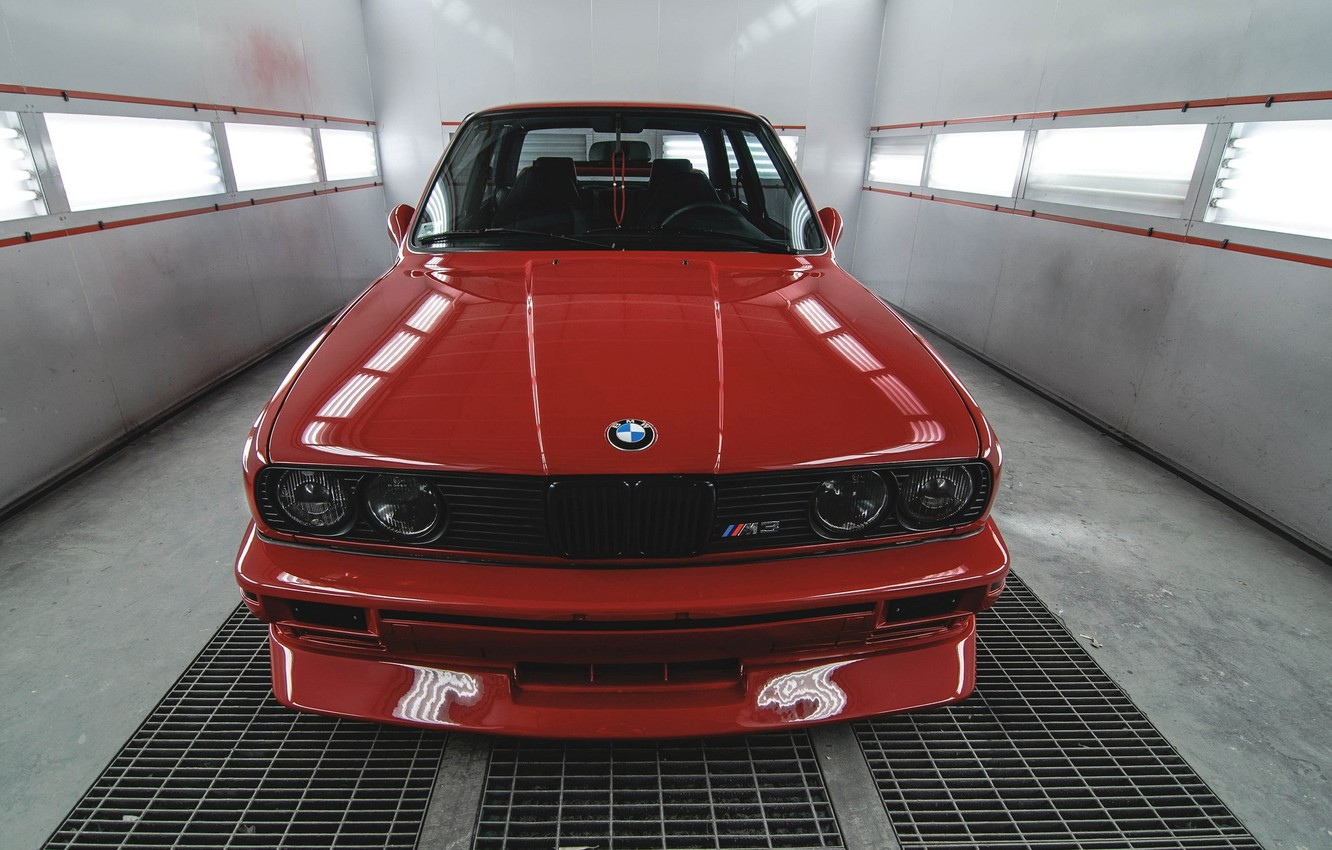 Photo wallpaper red, BMW, BMW, before, red, the front, front, E30, E30
