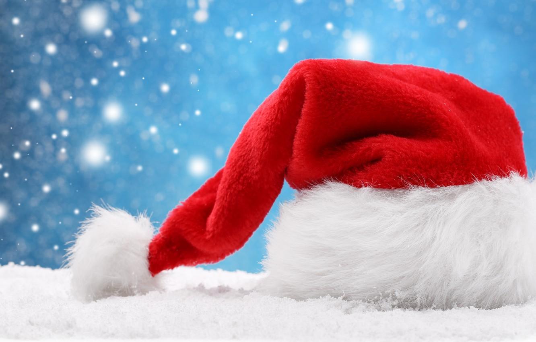 Photo wallpaper snow, the hood, Christmas, New year, new year, Santa Claus, Christmas, hat, snow, hats, Santa …