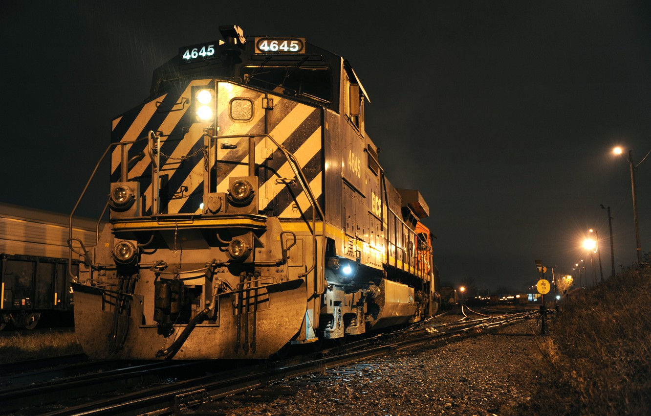 Photo wallpaper road, night, train