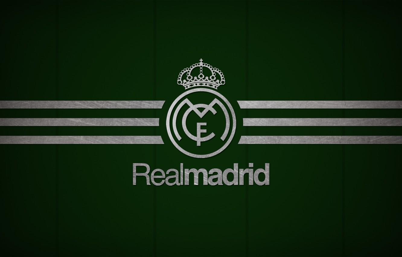 Photo wallpaper Dark, logo, emblem, Green, minimalism, texture, background, football, soccer, Spain, football club, the white, El …