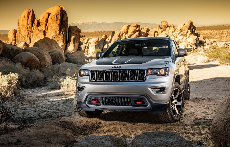 Photo wallpaper car, rock, sky, desert, cloud, sand, Jeep, Grand Cherokee, Cherokee, Trailhawk, suna, kumo, sabaku, Jeep …