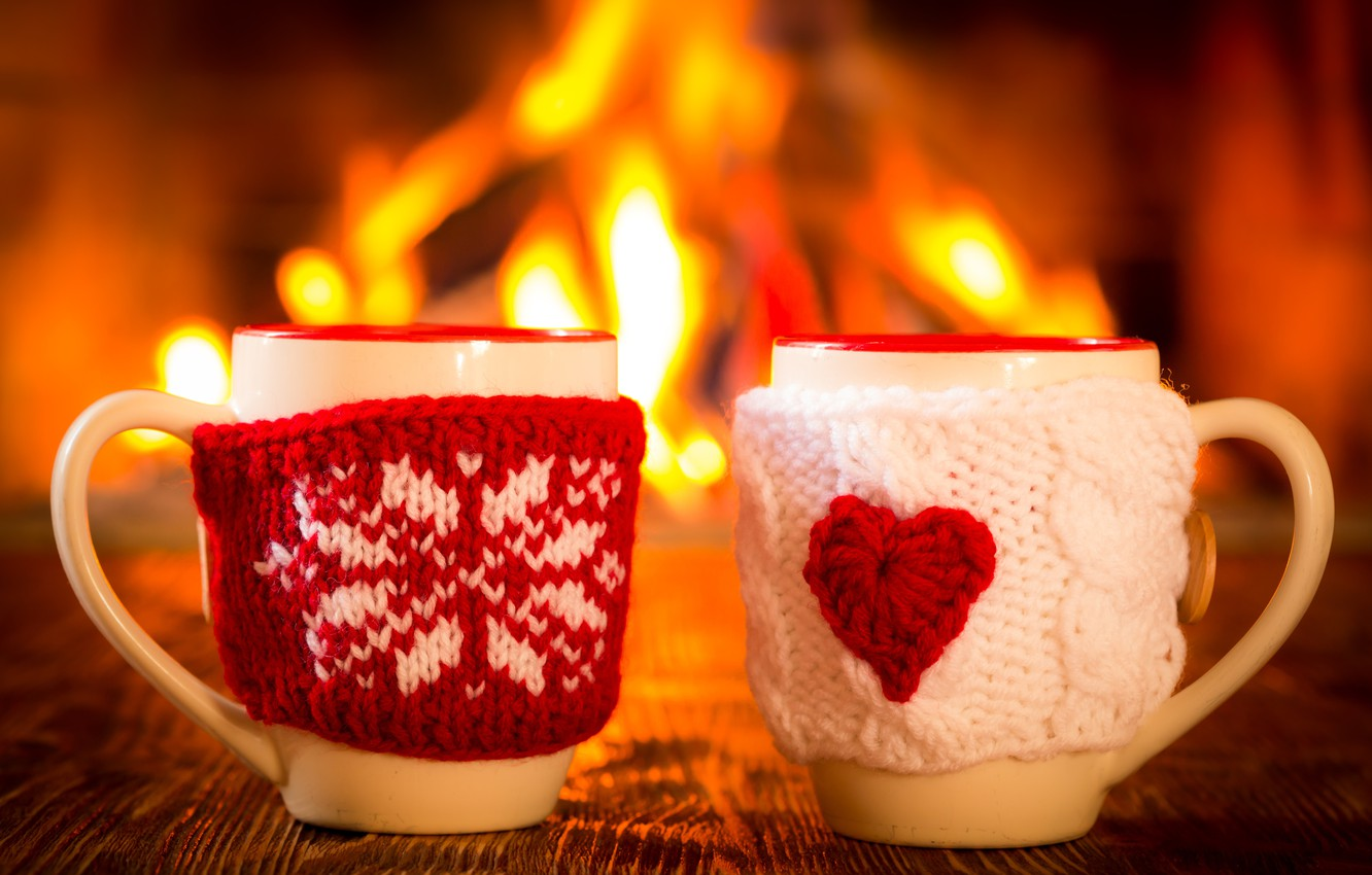 Photo wallpaper winter, coffee, hot, Cup, fire, fireplace, winter, cup, couple, coffee, cute, mitten