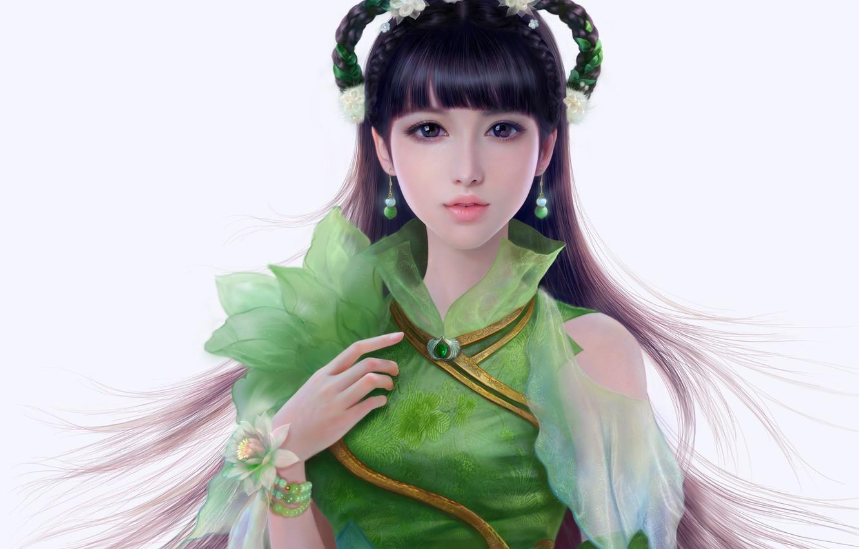 Photo wallpaper look, girl, hair, hand, dress, art, white background, Asian, earrings