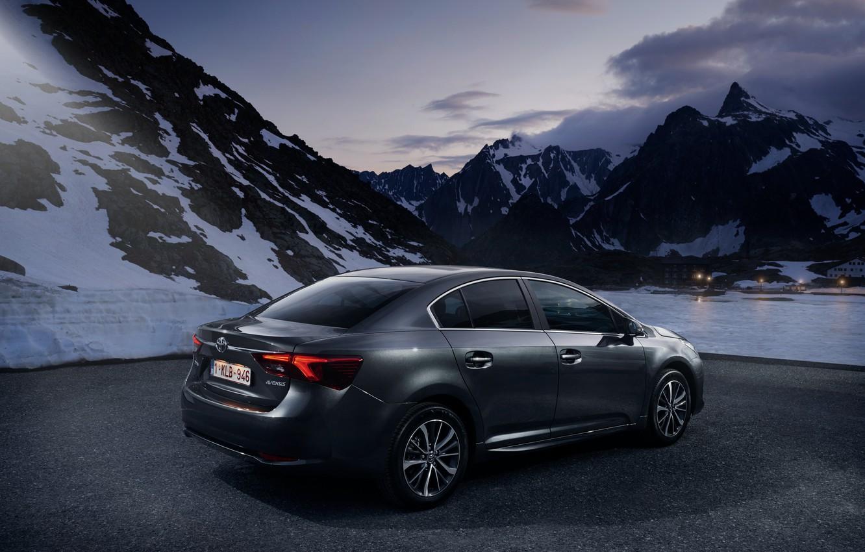 Photo wallpaper Toyota, sedan, avensis, sneg