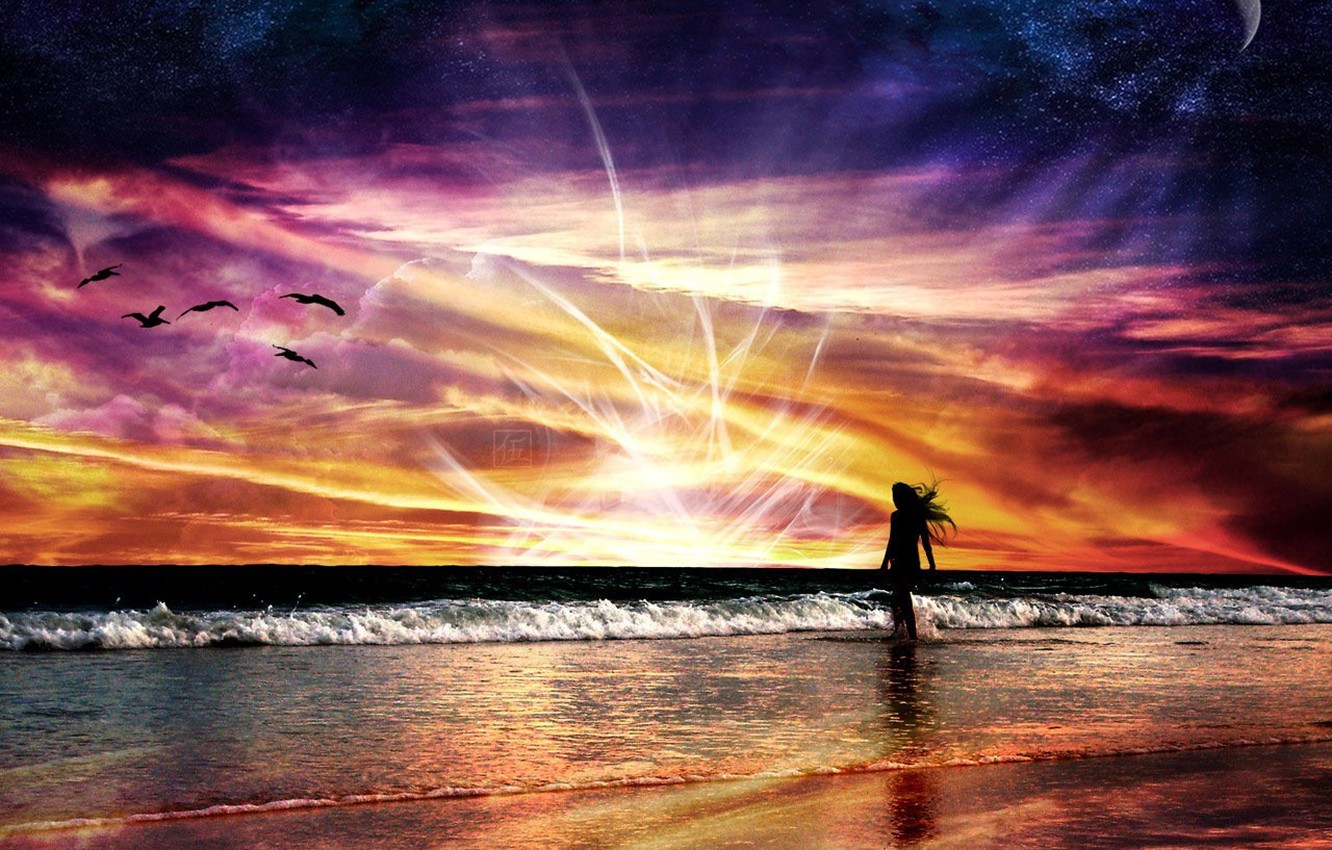 Photo wallpaper sea, wave, energy, girl, space, flight, landscape, sunset, red, bright, nature, abstraction