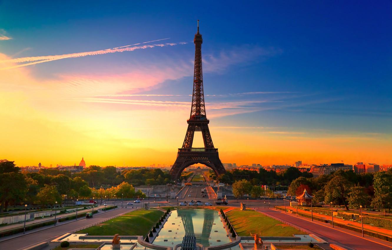 Photo wallpaper sunset, the city, France, Paris, Eiffel tower, colorful, beautiful france, Paris sunset