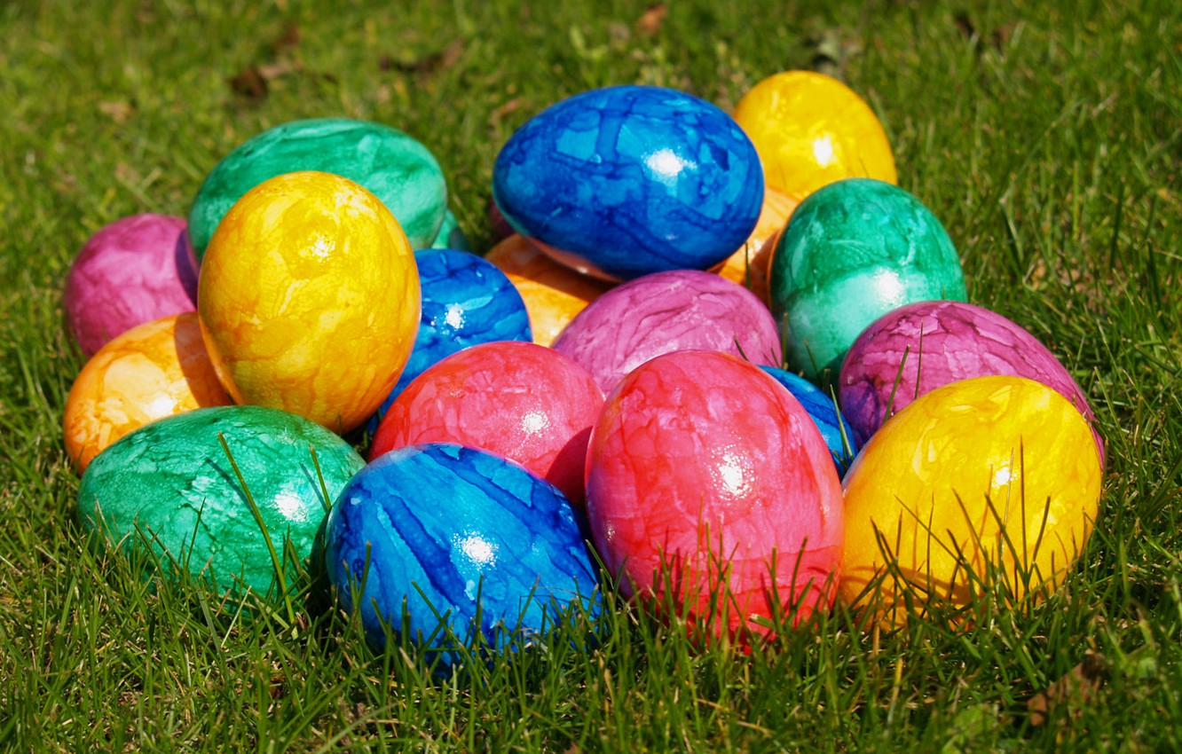 Photo wallpaper eggs, Easter, colorful
