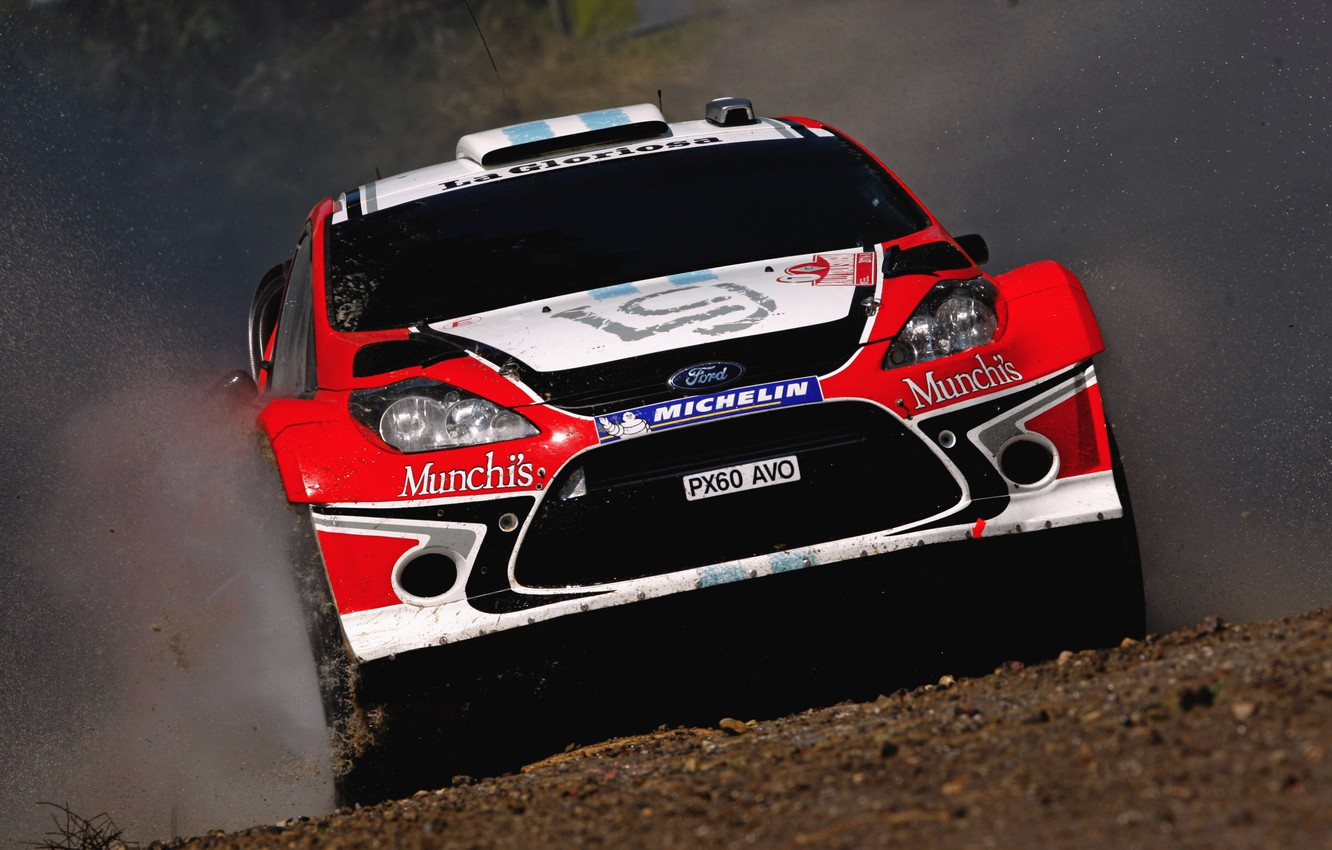 Photo wallpaper Ford, Water, Red, Auto, Sport, Machine, Speed, Ford, Race, Squirt, Lights, WRC, the front, Rally, …