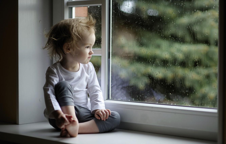Photo wallpaper glass, drops, rain, child, window, girl, sill