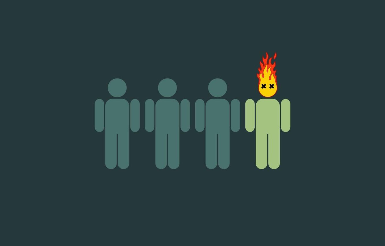 Photo wallpaper fire, people, green