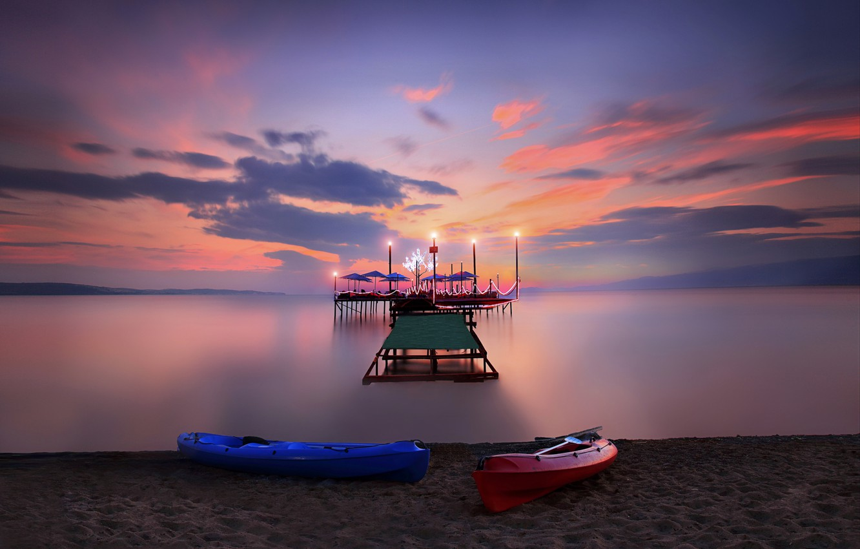 Photo wallpaper beach, summer, sunset, boats, Marina. lights