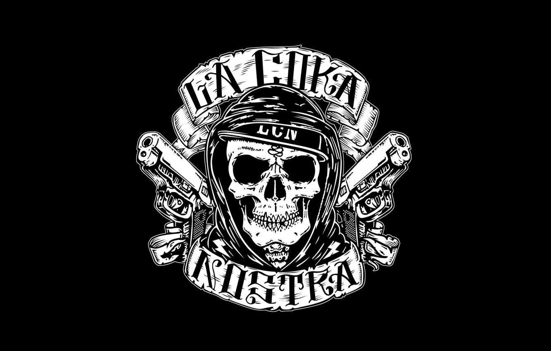 Photo wallpaper Minimalism, Skull, Logo, Logo, Music, Black Style, Hip-Hop, La Coka Nostra, American Hip-Hop Group, Underground …