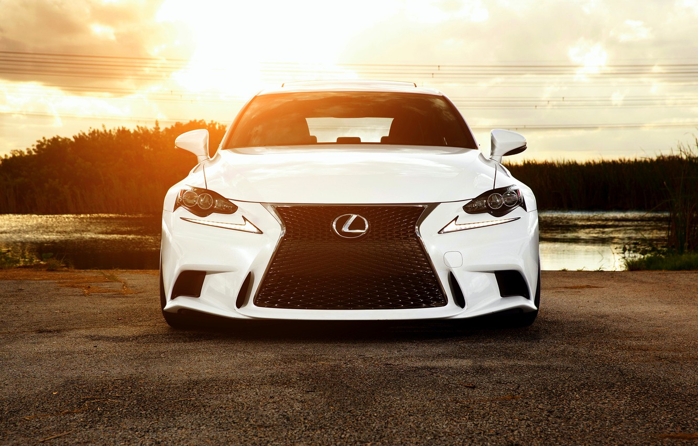 Photo wallpaper Lexus, white, front, vossen wheels, IS F sport