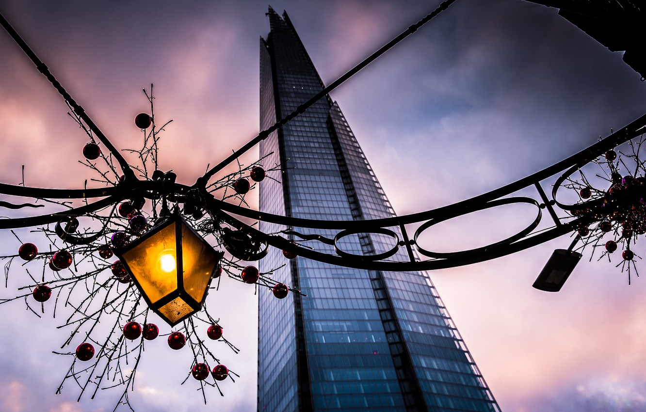 Photo wallpaper the city, the building, England, London, the evening, lantern, UK, decoration, garland, the Bank, London, …