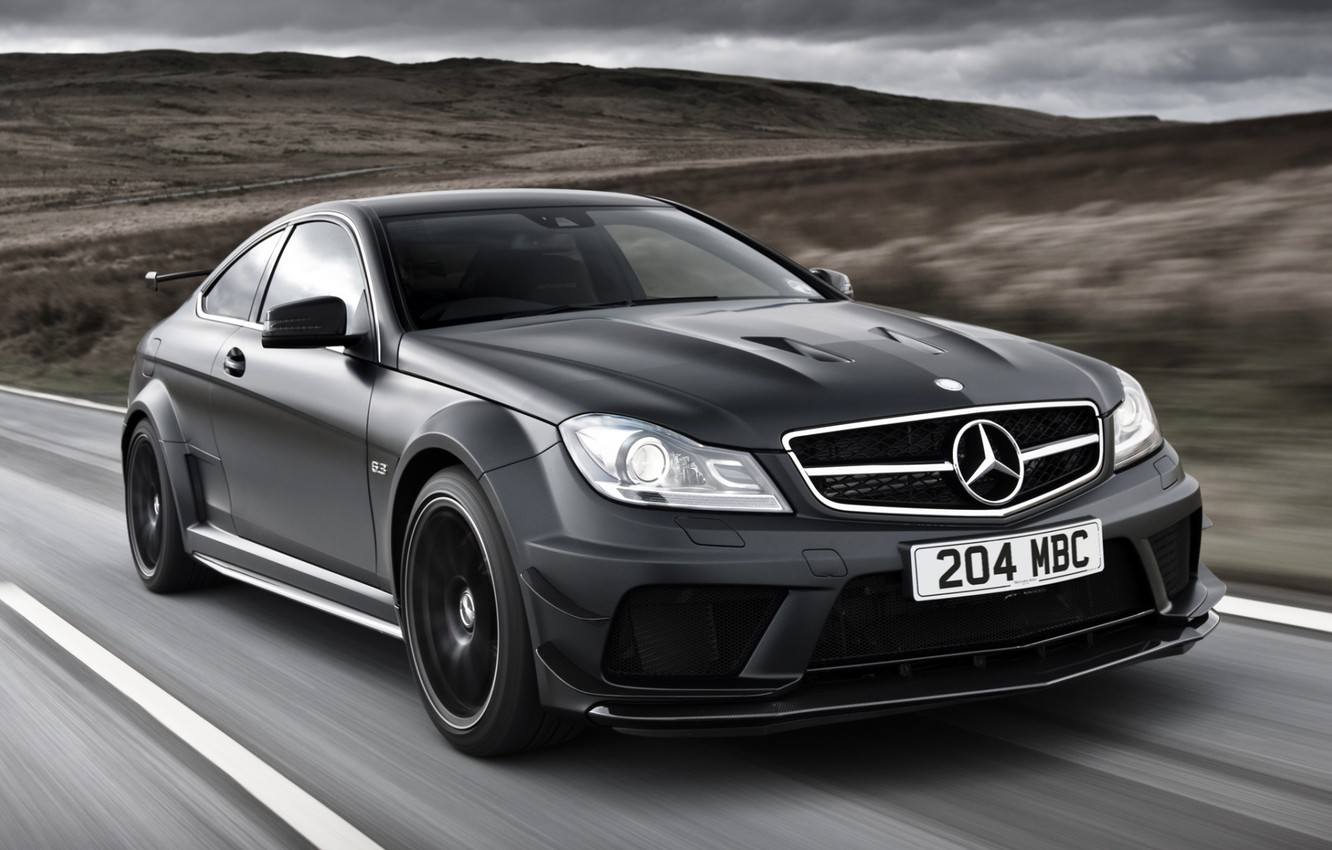 Photo wallpaper road, the sky, black, Mercedes-Benz, Mercedes, supercar, AMG, Coupe, the front, AMG, ц63, Black Series, …