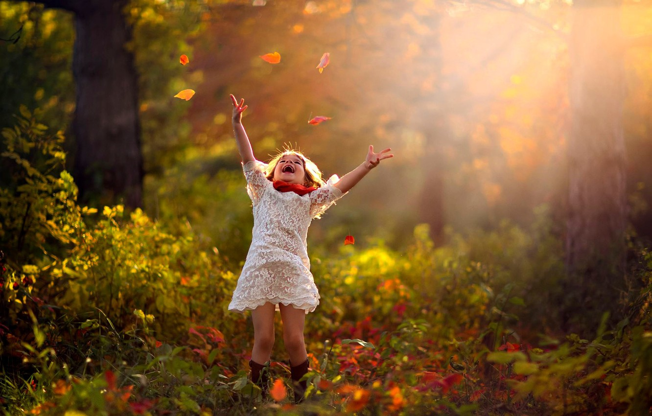 Photo wallpaper autumn, forest, leaves, trees, nature, child, girl