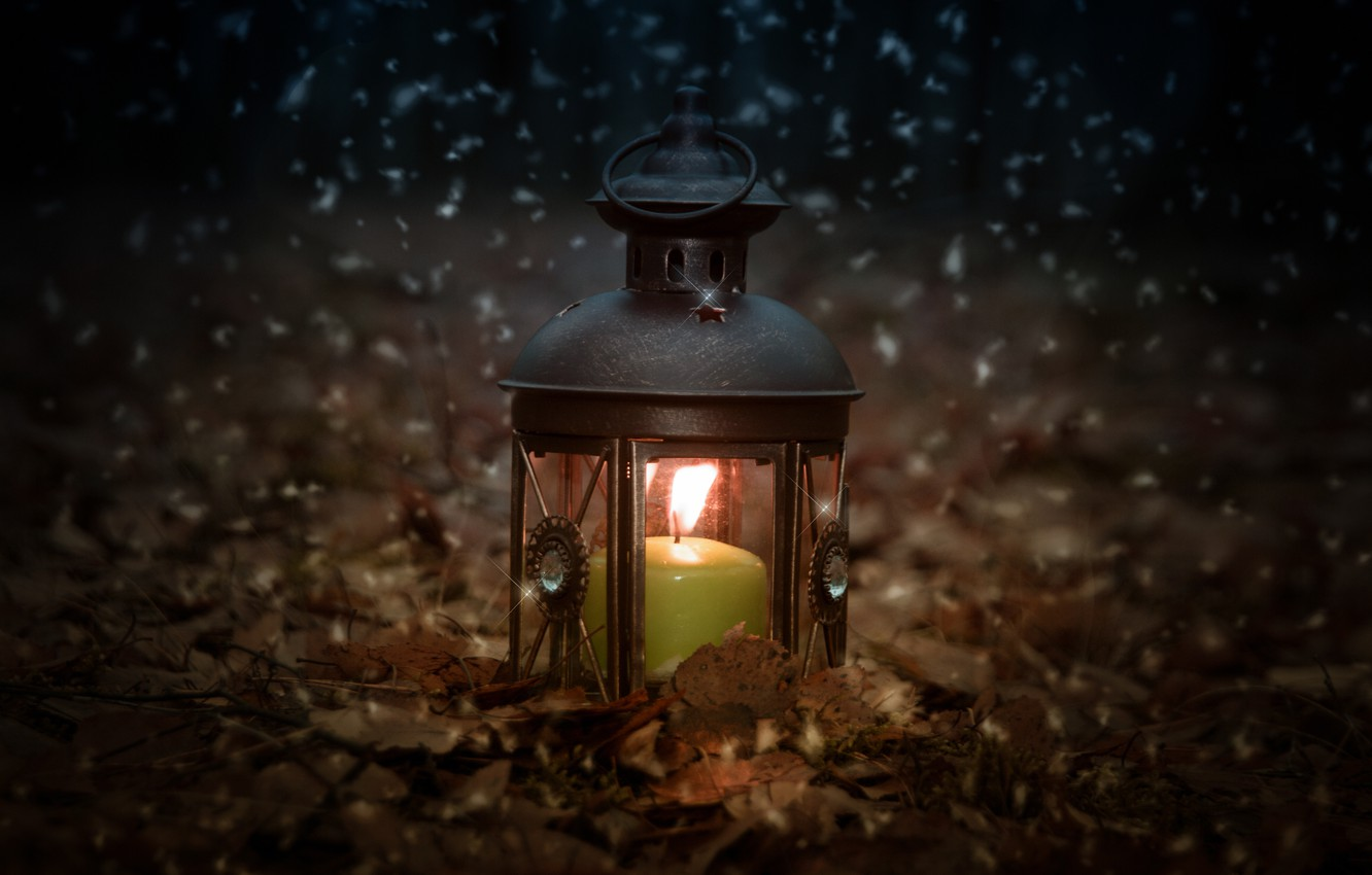 Photo wallpaper forest, snow, nature, mood, fire, holiday, lantern, different, candle holder, rojdestvo