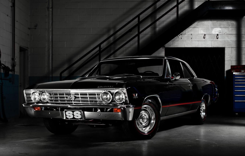 Photo wallpaper garage, twilight, chevrolet, muscle car, Chevrolet, chevelle ss