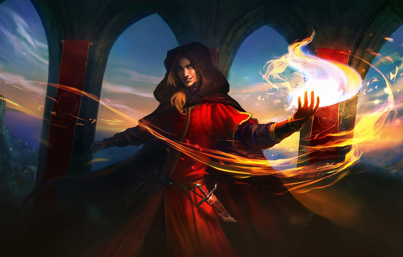 Photo wallpaper castle, fire, magic, hood, MAG, dagger, arch, guy, cloak